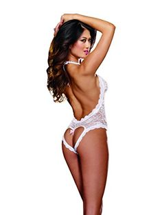 Dreamgirl Stretch Lace Halter Teddy with Plunging Neckline. White. O S.  Besde Women Ladies Sexy Plus Size Lace lingerie ... 584b0d635
