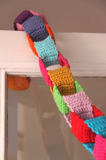 Use up those last bits of yarn to make a chain garland. Let's party!