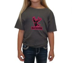 Youth Shortsleeve - Charcoal Grey with Pink Logo: Hunting Apparel | Hunting Clothes | Shirts | Stickers | Decals