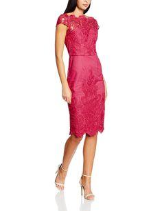 1d2713ee36a9ca Chi Chi London Damen Kleid Embroidered Cap Sleeve Bodycon, Pink (fuschia),  42 (herstellergröße: 14): Amazon.de: Bekleidung
