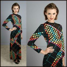 70s Maxi Dress Vintage Geometric Rainbow by foreveraftervintage