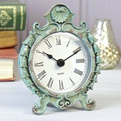 Mantle Clock Aqua Shabby Chic Vintage French Style Distressed Home Gift Mantle Clock, Desk Clock, Decorative Accessories, Home Accessories, Parisian Bedroom, Salvaged Furniture, Shabby Chic Gifts, Cupboard Handles, Home Gifts