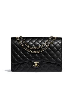 Handbags of the Reorders CHANEL Fashion collection   Maxi Classic Handbag,  grained calfskin   gold-tone metal, black on the CHANEL official website. de16680e6b0