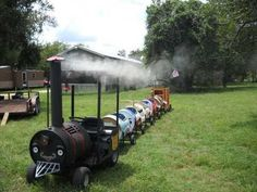 Barrel train. So cute! My brother would have loved this!