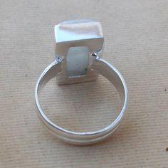 Natural Rainbow Moonstone Gemstone Ring Pear by silverstudio2014