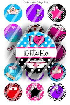 Editable Bottle Cap Collage (E327) Nursing 101 Digital Images | BottlecapBuzz - Graphics on ArtFire