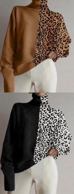 Classy outfits for women 588634613782367536 – Design – womenstyle. Loose Sweater, Long Sleeve Sweater, Diy Fashion, Fashion Outfits, Elisa Cavaletti, Fashion Seasons, Contemporary Fashion, High Collar, Sweater Fashion