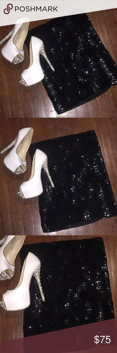 Sequined skirt and heels! Heels size 8 $45 Express shirt 45$size Medium both like new condition Express Skirts Mini