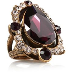 Oscar de la Renta Gold-plated crystal ring (285 CAD) ❤ liked on Polyvore featuring jewelry, rings, accessories, anillos, bague, burgundy, clear rings, clear crystal ring, adjustable rings and crystal jewelry