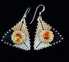 Peyote Earrings Pyramid Earrings Evening Jewelry by PreserveStudio
