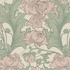 With a large scale print and bold botanical pattern, this dazzling floral design has the style of a Swedish wallpaper. Its curling green leaves and muted rose poppies waltz atop a beige background. Siri is an unpasted, non-woven blend wallpaper Pink And Green Wallpaper, Grey Floral Wallpaper, Watercolor Floral Wallpaper, Plant Wallpaper, Wallpaper Panels, Wallpaper Samples, Wallpaper Roll, Papier Peint Art Nouveau, Dusky Pink Bedroom