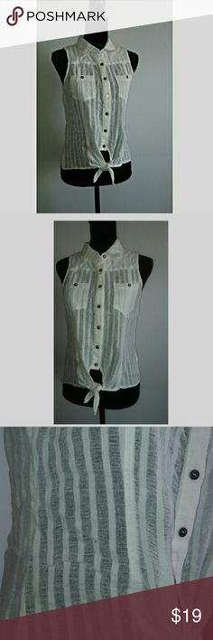 QuickSilver White Sheer Cotton Top Best thing you can have in your closet this summer. So breathable. 100 % cotton. Stay cool in this white button sheer QuickSilver Top.  Size Small.  Could possibly fit a Medium. Quiksilver Tops Tank Tops