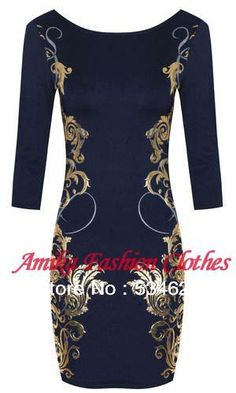 Aliexpress.com : Buy Free shipping Womens Celebrity Style Print Floral Bodycon Gold Party Business office shift Midi Pencil Print Dresses Plus Size from Reliable pencil cartoon suppliers on Online Store 534624  | Alibaba Group
