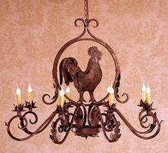 Wrought Iron Chandelier – Rooster Chandelier - All For Decoration Rooster Kitchen Decor, Rooster Decor, Wrought Iron Chandeliers, Large Chandeliers, Country Kitchen Designs, Country Kitchens, Kitchen Themes, Kitchen Ideas, Kitchen Art