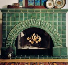 The fireplace is the hearth of the home. Warm and cozy is also beautiful with a Motawi custom designed fireplace. Fireplace Tile Surround, Concrete Fireplace, Fireplace Surrounds, Fireplace Design, Gas Fireplace, Fireplace Tiles, Art Deco Fireplace, Fireplace Drawing, Fireplace Candles