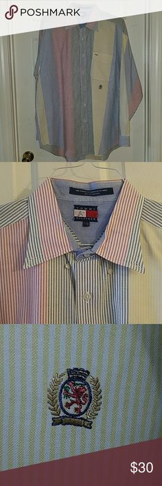 Tommy Hilfiger Button Down Rainbow vertical striped button down. Worn once. Initials written on tag.  100% Cotton.  From the 90s. Has the crest embroidered under the pocket. Tommy Hilfiger Shirts Casual Button Down Shirts