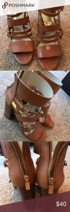 """Michael Kors Winston Strappy Leather Sandals Luggage leather upper. Open toe. Strappy upper. Back zip. Stacked 4 1/4"""" heel; 1/2"""" platform; 3 3/4"""" equiv. Leather sole MICHAEL Michael Kors Shoes Sandals"""