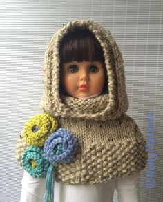 *This is an *** INSTANT DOWNLOAD PDF * KNITTING PATTERN ***not a finished product. VERMONT HOOD WITH CAPELET is stylish, comfy and warm…just perfect girls in every age : ) It will keep head, neck and shoulders warm. You can make this any color, for anyone and add flowers in their