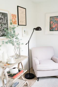 Rifle Paper Co.'s Office // Gallery wall, black floor lamp, and chair