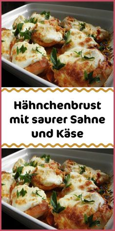 Hähnchenbrust mit saurer Sahne und Käse Ingredients 4 pieces of chicken breast fillets 250 g sour cream 300 g cheese grated 5 tsp paprika powder noble sweet salt pepper 1 bunch of parsley olive oil Pr Healthy Soup Recipes, Healthy Cooking, Meat Recipes, Chicken Recipes, Dinner Recipes, Cooking Recipes, Easy Meals For Two, Chicken Breast Fillet, Cheese Ingredients