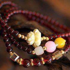 Garnet stone mala bracelet with crystal and Lotus flower bead | shangrilacraft - Jewelry on ArtFire
