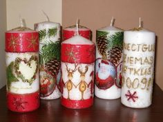 Expensive Candles, New Years Party, Christmas Crafts For Kids, Pillar Candles, Decoupage, Home Decor, Bottles, Candles, Jars