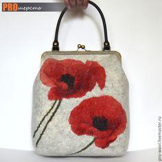 "Купить Сумка ""Маки"" - серый, цветочный, сумка ручной работы, сумка валяная, валяная сумка"