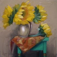 Tapestry Trio sunflower painting, painting by artist Diane Hoeptner