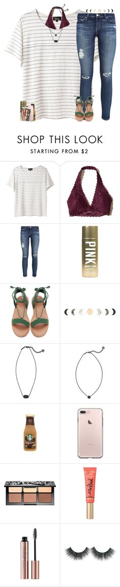 """""""ootd in the items! """" by theblonde07 ❤ liked on Polyvore featuring A.P.C., Hollister Co., AG Adriano Goldschmied, Victoria's Secret, Kendra Scott and Sephora Collection"""