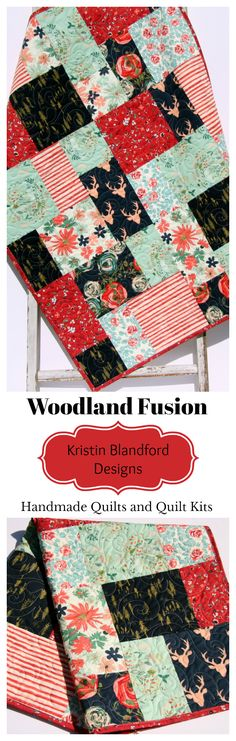 Woodland Fusion Quilt Kit, Baby Quilt Kit, Throw Quilt Kit, Twin Quilt Kit, Modern Quilt Kit, Sewing Quilting Ideas DIY Crafts Crafting Ideas, Boho Chic Throw, Deer Buck Floral, Navy Blue Red Coral Mint Green, Art Gallery Fabrics, Modern Quilt Kit by Kristin Blandford Designs #handmadequilts #quiltsforsale #babygifts #boho #throw