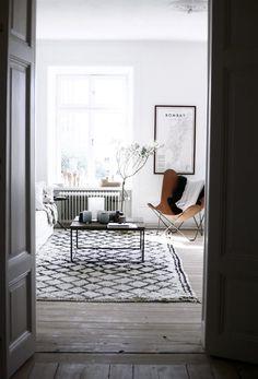 warm black + white living room