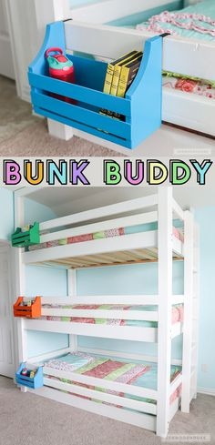 Woodworking Ideas For Home How to make a DIY bunk buddy bunk bed shelf out of scrap wood!Woodworking Ideas For Home How to make a DIY bunk buddy bunk bed shelf out of scrap wood! Triple Bunk Beds, Full Bunk Beds, Bunk Beds With Stairs, Kids Bunk Beds, Boys Bedroom Ideas With Bunk Beds, Diy Beds For Kids, Childrens Bunk Beds, Attic Stairs, Amazing Bunk Beds