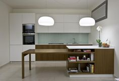 saving space with a sliding table is another innovative idea.