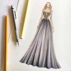 Fashion Designer Illustrates Gorgeous Gowns in Enchanting Detail Dress Design Sketches, Fashion Design Drawings, Fashion Sketches, Fashion Drawing Dresses, Fashion Illustration Dresses, Fashion Dresses, Fashion Designer, Designer Dresses, Fashion Week