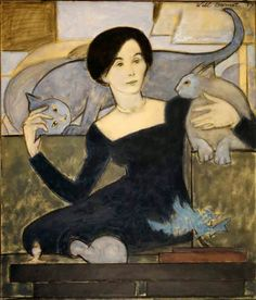 The artist Will Barnet is said to have dismissed any visitor to his studio if his feline did not approve of him/her. Clearly, Barnet was a cat lover. Art And Illustration, Photo Chat, Guache, Inspiration Art, Abstract Painters, Cat Drawing, Oeuvre D'art, American Artists, Crazy Cats