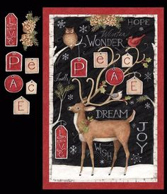 Peace Deer Reindeer Christmas Door Wall Hanging Quilt Fabric Panel 1 Yrd for sale online Christmas Owls, Christmas Crafts, Christmas Wreaths, Christmas Fabric Panels, Deer Fabric, Cute Patches, Panel Quilts, Cotton Quilting Fabric, Quilted Wall Hangings