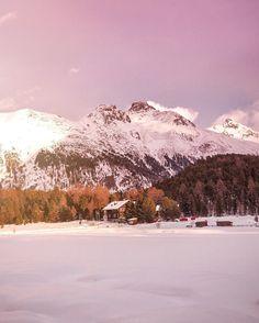 Rainbow sunrise on frozen Lej de Staz 🌈 St Moritz, Engadin.