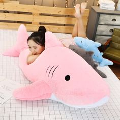 Kawaii Pastel Jumbo Shark Plush (90cm) - Special Edition - KawaiiTherapy Kawaii Bunny, Kawaii Plush, Shark Plush, Plush Animals, Plushies, Cute Gifts, Dinosaur Stuffed Animal, Corgi, Pastel