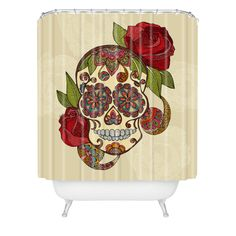 So Many Great Shower Curtains Here Valentina Ramos Sugar Skull Shower Curtain Deny Designs