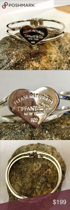 "Please Return to Tiffany & Co. heart bracelet .925 Please Return to Tiffany & Co. heart bracelet .925 spring-hinge closure weight 22.6g 2-2.5"" diameter, apps 8"" circumference Tiffany & Co. Jewelry Bracelets"