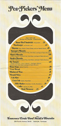 "Vintage menu design: ""Pea Pickers' Menu"""
