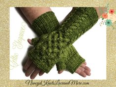 #cpromo Olive Green Fingerless Gloves Celtic Knot Cables Ladies Merino Wool Malabrigo Rios Lettuce