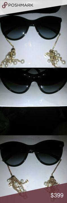 0da8dc08474 SALE AuthentiChanel black cat eye chain sunglasses Sale Authentic stunning  Chanel black cat eye