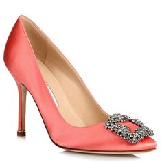 Hangisi 105 Peach Satin Pump ($980) ❤ liked on Polyvore featuring shoes, pumps, orange, orange shoes, peach shoes, orange high heel shoes, manolo blahnik pumps and peach pumps
