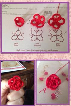 I fell in love with this little roses on the third attempt i started again from the original pattern the white thread was hidden using – Artofit Tatting Earrings, Tatting Jewelry, Lace Jewelry, Tatting Lace, Crochet Earrings, Shuttle Tatting Patterns, Needle Tatting Patterns, Crochet Patterns, Tatting Tutorial