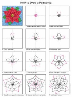 Art Projects for Kids: How to Draw a Poinsettia #artprojectsforkids