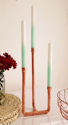 Vintage candle holder made of copper, candle holder made of copper tube for long candles, decoration accessory for your home / candle holder made of copper, candle stick made of copper pipe for long candles, Copper Candle Holders, Vintage Candle Holders, Vintage Candles, Long Candle Holder, Long Candles, Diy Candles, Copper Diy, Diy Furniture Building, Copper Tubing
