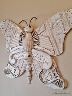 Huge Butterfly and Turtle Recycled Art Sculptures, Mixed Media Collage