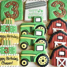 Tractor Cookies, Farm Cookies, Iced Cookies, Cute Cookies, Sugar Cookies, Shortbread Cookies, First Birthday Cookies, 5th Birthday Cake, First Birthday Banners