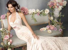 Halter Mermaid Satin Lace Chapel Train Wedding Dress - £161.40 :